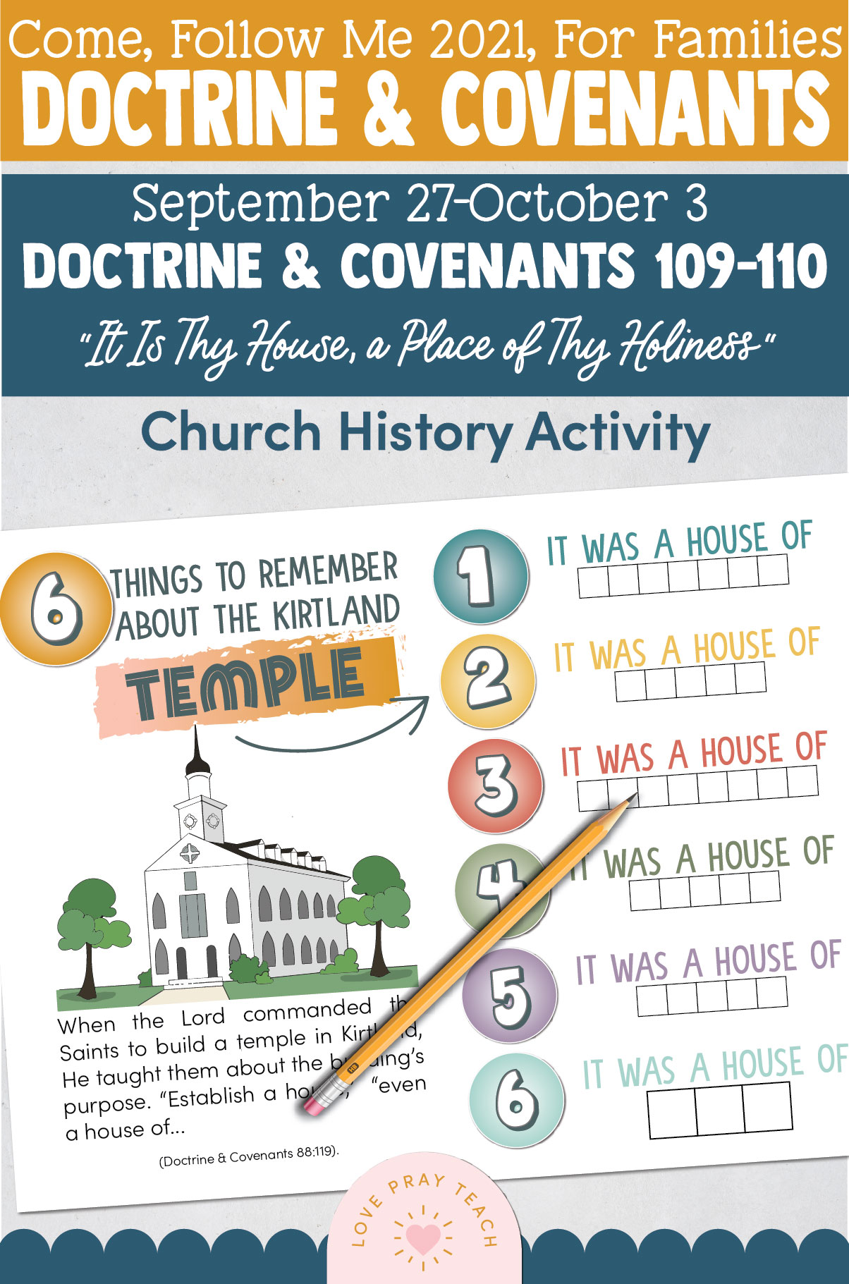 """Come, Follow Me—For Individuals and Families: Doctrine And Covenants 2021, October Week 1 Doctrine and Covenants 109-110: September 27-October 3, """"It Is Thy House, a Place of Thy Holiness"""""""